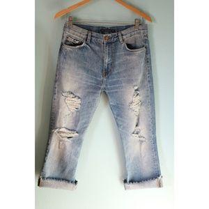 Zara Jeans - Zara Trafaluc SZ 6 Distressed Boyfriend Crop Jeans